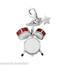 Tingle Drum Kit Clip on Sterling Silver Charm with Gift Box and Bag SCH276