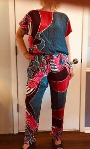 AMAZING Corey Lynn Calter Mixed Print Silk Jumpsuit Open Back SEE PHOTOS Size L