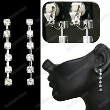 "CLIP ON CRYSTAL EARRINGS 1.5""drop DIAMANTE silver glass rhinestone COMFY CLIPS"