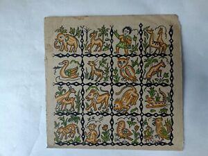 vintage textile on  paper painting design, textile indian art painting