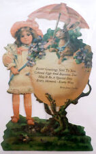 Victorian Turn Of The Century Easter Card Bunny Rabbit And Little Girl #Grc062