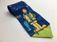 BANG ON THE DOOR BHS POLYESTER TIE - BLUE GREEN YELLOW FISHING FISH DESIGN - T4