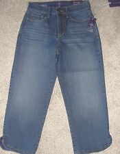 New Womens NYDJ Jeans Sz 0 Dark Wash Mid Rise Not Your Daughters Ariel Crop