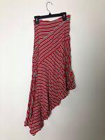 Free People Women's Asymmetrical Skirt Size 0 Red Striped Long Maxi w/ Slit