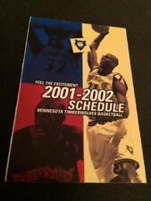 2001-02 Minnesota Timberwolves Basketball Pocket Schedule McDonald's Version