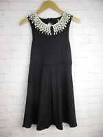 Free People women's size Small Black Fringe Collar Peter Pan A Line Dress