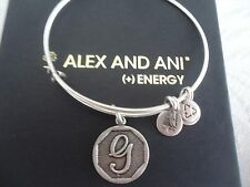 Alex and Ani Initial G Charm Bangle Bracelet Russian Silver New W/Tag Card & Box