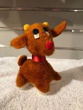 Russ Berrie Vintage 1975 Reindeer Plush Stuffed Christmas Red Nosed Brown