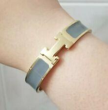 H Clic Clac Enamel PM Bracelet Gray GHW Gold Hardware