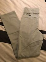 Under Armour Boys Gray UA Steal Open Bottom Relaxed Fit Baseball Pants - YM