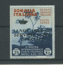 COLONIE SOMALIA 1934 SERVIZIO AEREO 25C. *  CERT.