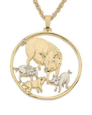 """Mother pig and Piglets,Coin Pendant Necklace.Hand cut. 1-1/4"""" diameter ( # 469 )"""