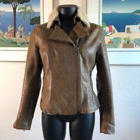 Banana Republic Distressed Tan Leather Moto Jacket PS