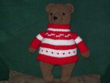 Crochet 15 in Teddy Bear animal doll toy in sweater handmade
