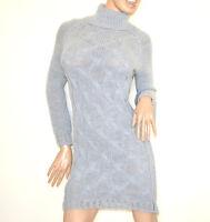 ABITO grigio vestito lana donna manica lunga collo alto maglione made italy G70