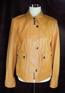 Ellen Tracy Company Tan Zipper Front Snap Placket Leather Jacket S