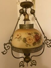 New listing Antique Vintage Brass Hanging Parlor Chandelier Converted to Electric Oil Lamp