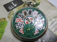 OMEGA Ω GREEN PLAYING CARDS DIAL pocket WATCH 15 jewels SWISS, 38.5LT1