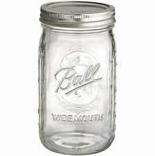 4 Ball Wide Mouth Jam Mason Jars 945ml Glass Jar, Lids, Canning, Vintage