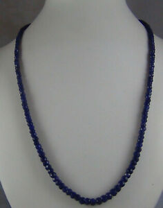 """95Cts NATURAL SAPPHIRE FACETED 5mm to 2.5mm BEADS NECKLACE STRAND 20"""" LONG"""