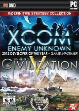 XCom Enemy Unkown/ Civilization V 2K Definitive Strategy Collection (PC, 2013)