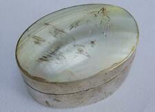 Vintage Trinket Pot Pill Box Carved Mother of Pearl Silver Plated Bird Design