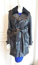 Burberry Brit Black leather Double-Breasted coat jacket sz S-M 100% Authentic