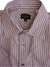 PAUL SMITH Shirt Mens 15.5 M Lilac – Fuchsia Stripes SHORT SLEEVE