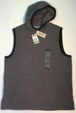 New Kenneth Cole Mens Vest Size Large L Grey Black Hood Sweat Shirt Cotton Blend