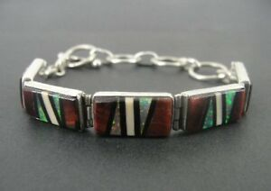 Multi Color Stones Onyx Gilson Opal Sterling 925 Silver Toggle Clasp Bracelet