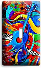 COLORFUL GUITAR SAXOFONE JAZ MUSIC ABSTRACT SINGLE LIGHT SWITCH WALL PLATE COVER