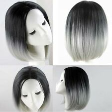 Fashion Bob Black Ombre Grey Short Straight Wig Synthetic Hair Lace Front Wig