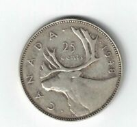 CANADA 1948 25 CENTS QUARTER KING GEORGE VI CANADIAN SILVER COIN