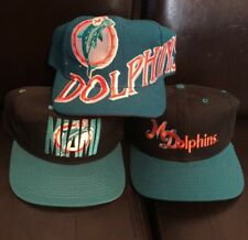 LOT 3 VTG 90s Miami Dolphins Snapback Hats Mint Condition