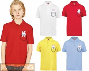 Cute Pocket Bunny Polo T-Shirt Kids Childrens Cute Cool Novelty Happy Gift Egg