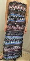 Womens New Folia Strapless Maxi Summer Dress Cold Shoulder Ethnic Paisley Print