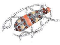 New Enamel Crystal Rhinestone Topaz Beetle Bug Insect Costume Pin Brooch Jewelry