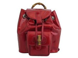 Auth Gucci Bamboo Mini Backpack Red/Goldtone Patent Leather - e44599a