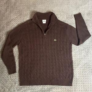 Lacoste Men's Sz 6 XL Devanlay Brown Pullover 1/2 Zip Cable Sweater Cotton Wool