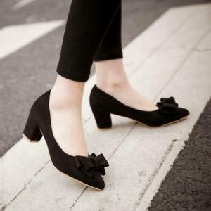 Women Block Heel Wedding Shoe Pointed Toe Slip On Casual Pump Faux Suede Bowknot