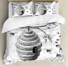 Nature Queen Size Duvet Cover Set Hand Drawn Honeycomb with 2 Pillow Shams