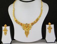 UK Indian Bollywood Fashion Jewelry Gold Plated Wedding Necklace Earring Set