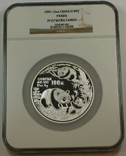 1991 China Silver 100 Yuan Panda 12 Oz Proof Coin, NGC PF-67 UC Ultra Cameo
