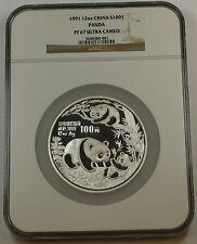 1991 China Silver 100 Yuan Panda 12 Oz Proof Coin, NGC PF-67 UC Ultra Cameo