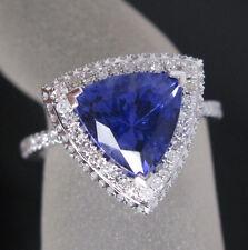 18K SOLID WHITE GOLD VIOLET BLUE TRILLION TANZANITE ENGAGEMENT DIAMOND RING