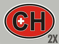 2  Switzerland Swiss CH OVAL stickers flag decal bumper car bike emblem CL059