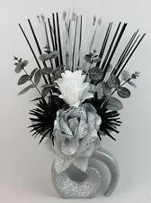 HANDMADE ARTIFICIAL SILK SILVER, BLACK & WHITE FLOWERS, SILVER GLITTER VASE
