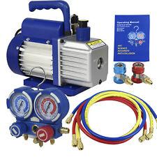 4cfm 13 Hp Air Vacuum Pump Hvac Refrigeration Kit Ac Manifold Gauge Set Combo