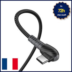 CÂBLE CHARGEUR RAPIDE COUDÉ RESISTANT MICRO USB, USB TYPE C OU IPHONE