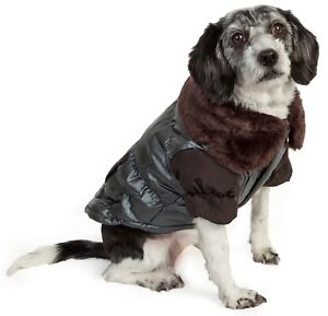Pet Life Faux Fur Collared Pet Dog and Cat Jacket Parka Apparel for Pets